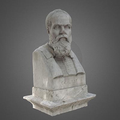 altrospazio fotografia, fotogrammetria 3D del busto di Galileo Galilei a Villa Borghese